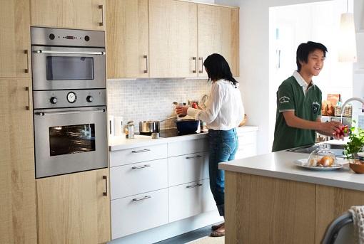 Cocina blanca y madera mueblesueco - Cocina madera ikea ...