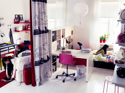 Ideas De Dormitorios Juveniles Ikea ~ Como ves, la idea de la cortina se vuelve a repetir…¡y es que es