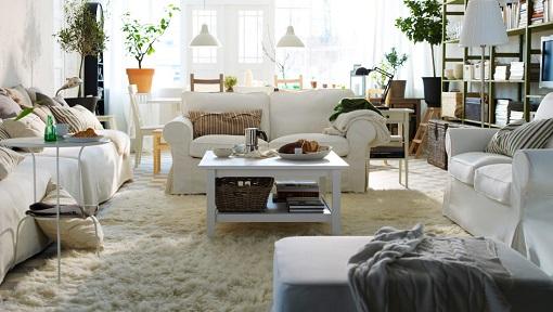 Salón blanco de Ikea