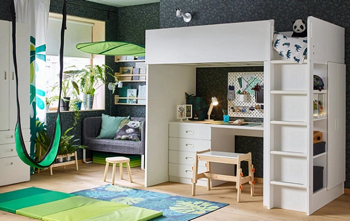 ikea stuva camas altas para ni os con escritorio y armario. Black Bedroom Furniture Sets. Home Design Ideas