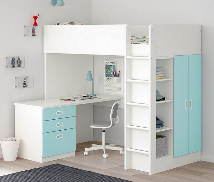 Ikea stuva camas altas para ni os con escritorio y armario - Camas de ninos ikea ...