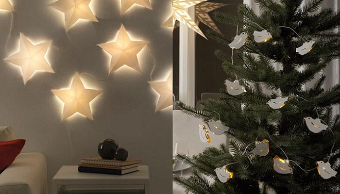 luces de navidad ikea guirnaldas estrellas palomas
