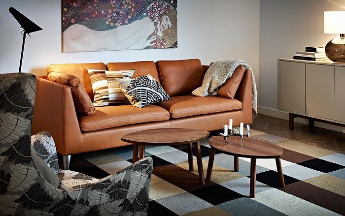 sofá de piel ikea stockholm