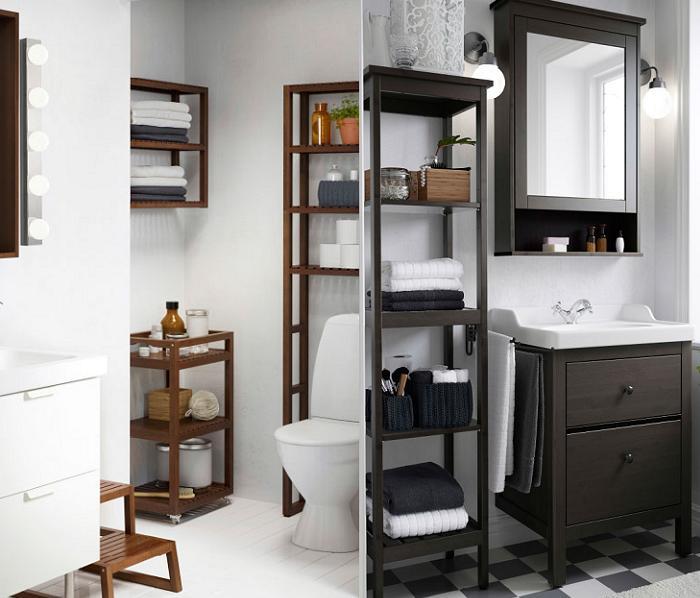 estanterias baño ikea madera teca