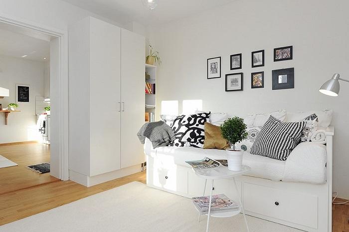 salón con diván hemnes