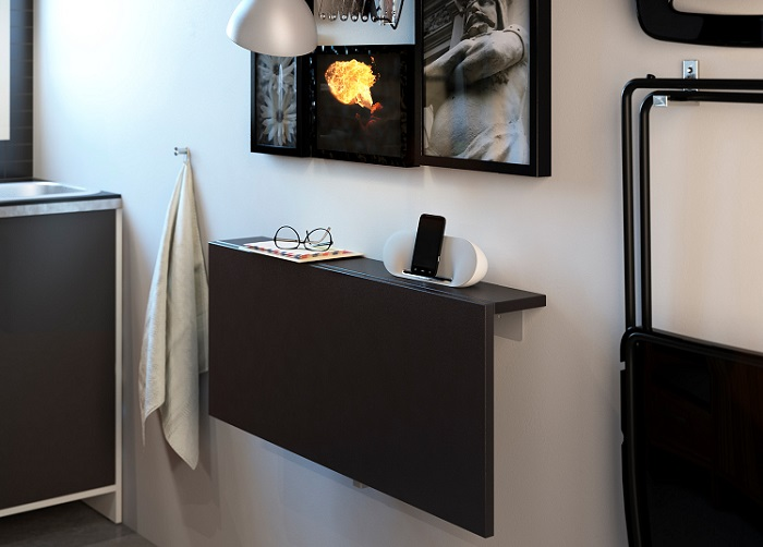 7 mesas peque as de cocina muy pr cticas - Mesa pared cocina ...